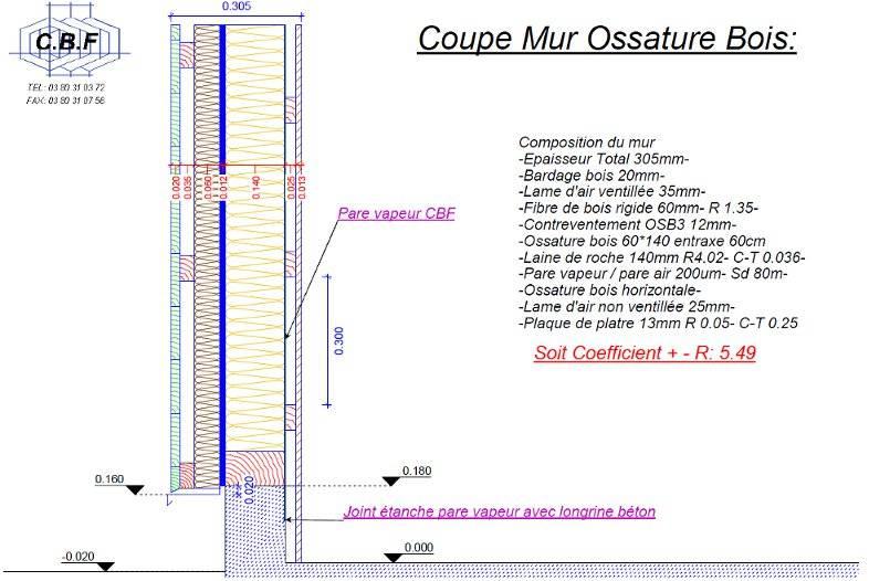 coupe mur ossature bois vue 3d ossature bois 3d ossature bois  ~ Coupe Mur Ossature Bois